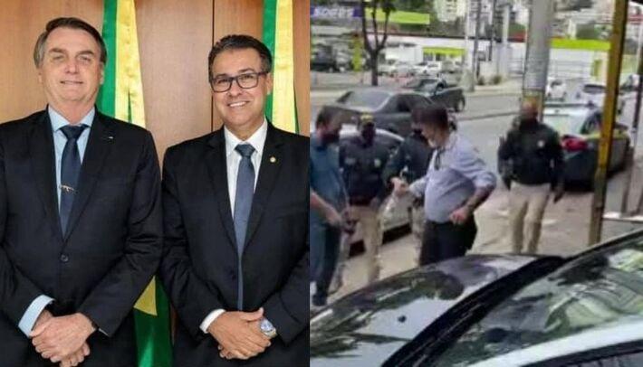 A esquerda está o Capitão junto à Bolsonaro.