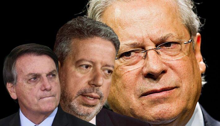 Na imagem - da esquerda para direita: Bolsonaro, Lira e Dirceu   Créditos: Marlene Bergamo [José Dirceu] - Kleyton Amorim - UOL [Lira] e EVARISTO SA  - AFP [Bolsonaro]