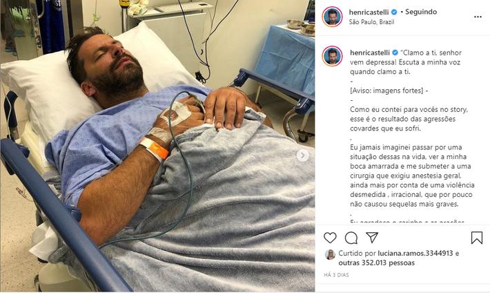 ator Henri Castelli publicou nas redes sociais relato sobre a agressão