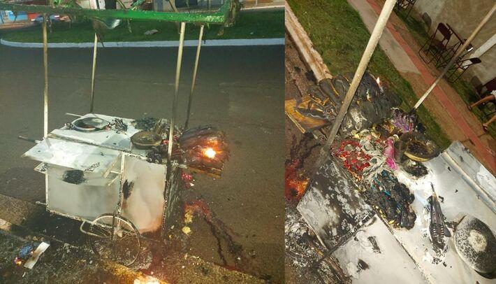 Carrinho ficou destruído pelas chamas
