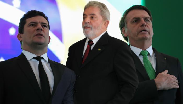 Da esquerda para direita: Moro, Lula e Bolsonaro