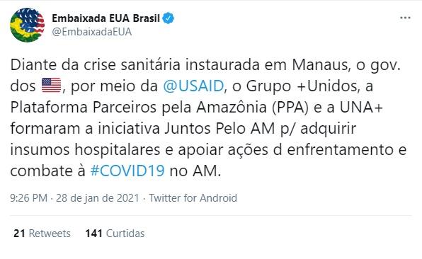 Através do twitter a embaixada americana anunciou apoio anindo se à grupo que já arrecadou R $300 mil para causa