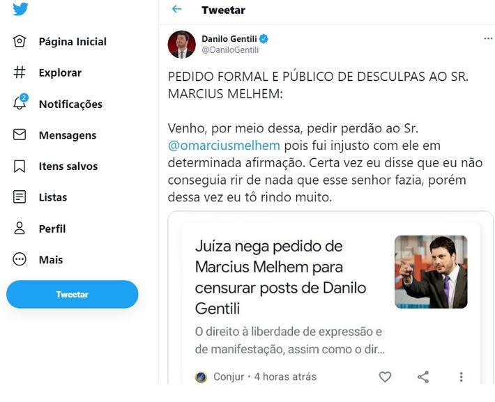 Apresentador fez publicação irônica no Twitter após decisão da Justiça de São Paulo