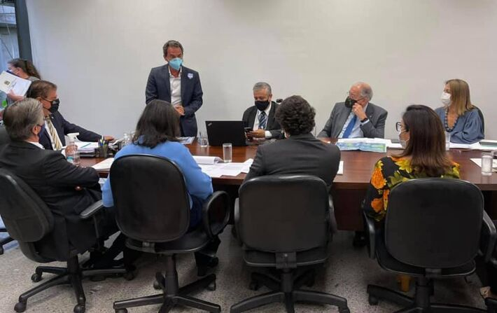 Marquinhos Trad (PSD), prefeito reeleito em Campo Grande (MS) esteve em Brasília no dia 16 de fevereiro