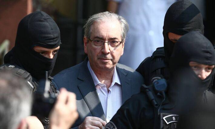 O ex-presidente da Câmara e deputado cassado Eduardo Cunha (PMDB-RJ) em Curitiba, onde fez exame de corpo de delito após prisão preventiva