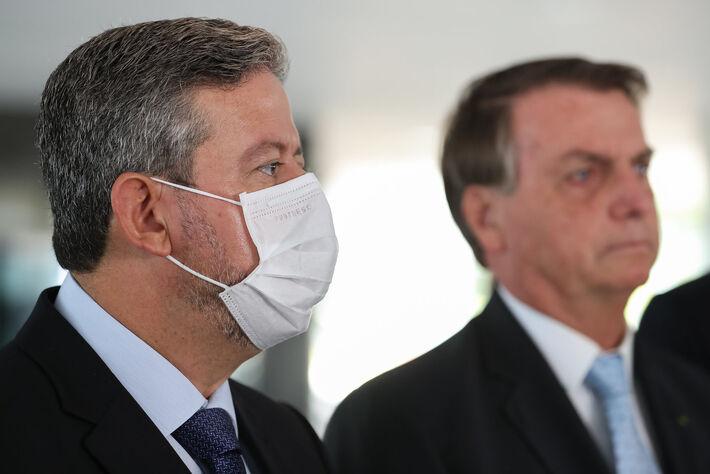 Arthur Lira, Presidente da Câmara dos Deputados e o Presidente da República, Jair Bolsonaro durante coletiva de imprensa.