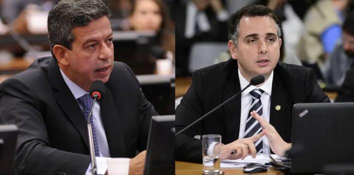 Candidatos à presidência da Câmara e do Senado, respectivamente, Arthur Lira e Rodrigo Pacheco