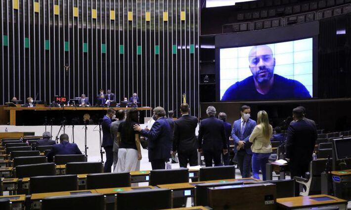Daniel Silveira (PSL-RJ) no telão da Câmara