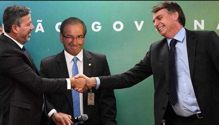 Lira, Edurado Cunha e Bolsonaro - imagem montada em edição