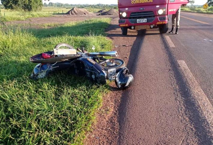 Moto no local do acidente