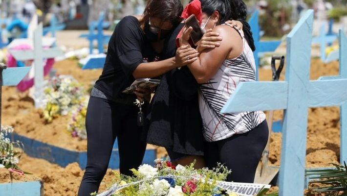 Enterro de vítima de covid-19 em Manaus, em 17 de fevereiro; país acumula em torno de 2,2 mil mortes ao dia