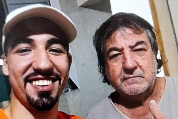 Selfie, tirada por Igor Fanti, 21 anos, ao lado do pai, Vicente Dias Fanti, 63, no mesmo dia em que o idoso foi assassinado a marteladas. O jovem confessou o crime, em depoimento. Ele permanece preso na carceragem do 2º DP (Bom Retiro)