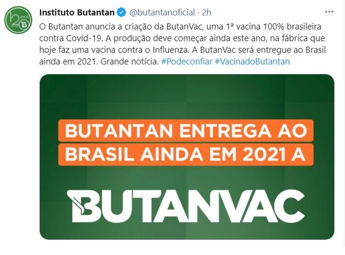 Butantan, que já distribui a Coronavac, anunciou sua vacina própria, 100% brasileira, que não atrapalhará o primeiro imunizante
