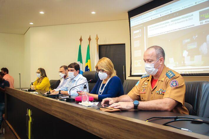 Reunião com 79 prefeitos aconteceu na manhã desta 2ª feira (08.mar.2021), na sede da Assomasul
