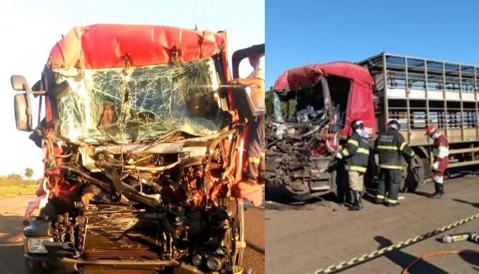 Carreta conduzida pela vítima ficou destruída