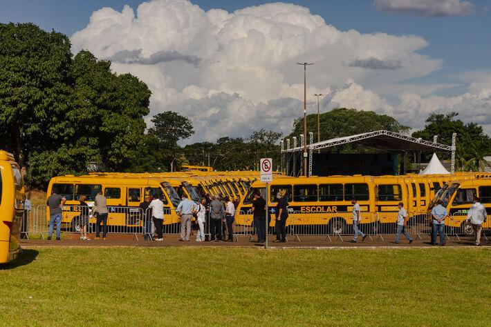 Ônibus no local do evento -