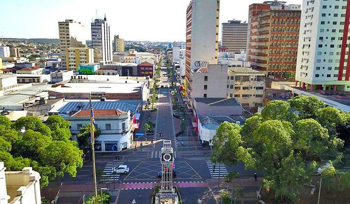 Imagem aérea de Campo Grande, na região central da cidade