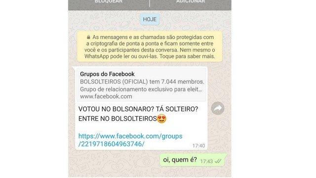 Bolsonaristas usam grupo do Ministério da Saúde para divulgar página de encontros amorosos para eleitores do presidente.