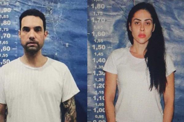 Dr. Jairinho e Monique Medeiros, em fotos feitas no ingresso do casal no sistema penitenciário.