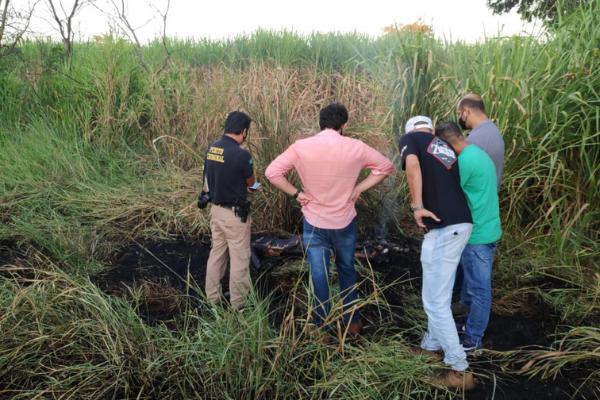 Corpo foi achado carbonizado em área próxima a indústria sucroalcooleira
