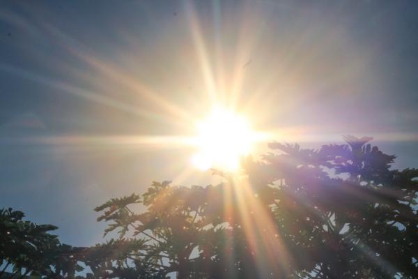 Sol brilha intensamente nesta manhã (21.abril) no céu de Campo Grande