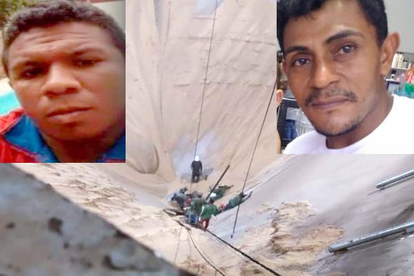 Na imagem - Silo de grãos - o rosto a esquerda é de Francisco. O rosto a direita é o de Fernando, ambos morreram.
