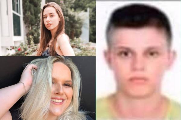 Fabiano Kipper Mai está a direita da imagem, a esquerda estão as vítimas: Mirla (acima) e a professora, Keli.