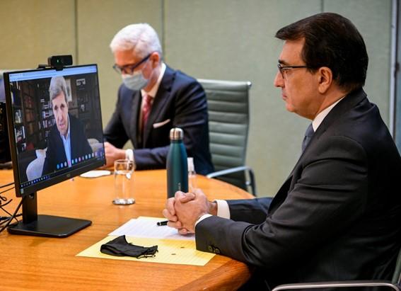 John Kerry reuniu-se por videoconferência com ministros Ricardo Salles (Meio Ambiente) e Carlos França (Relações Exteriores), na 6ª feira (30.abr.2021)