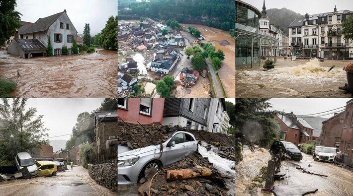 Fotos das consequências das chuvas e inundações na Alemanha e na Bélgica  Foto: Montagem com fotos da AP