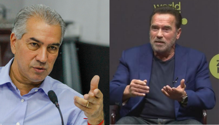 Governadores pedem finaciamento de projetos ao Clima. Na imagem à esquerda (Reinaldo Azambuja) e a direita (Schwarzenegger).