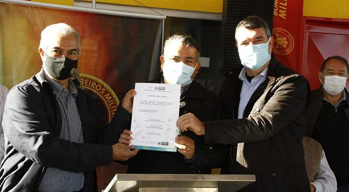 Governador Reinaldo Azambuja e secretário Eduardo Riedel (Seinfra) entregam quartel da 2ª Seção de Bombeiro Militar do 17º Sub grupamento de Bombeiros Militar Independentes