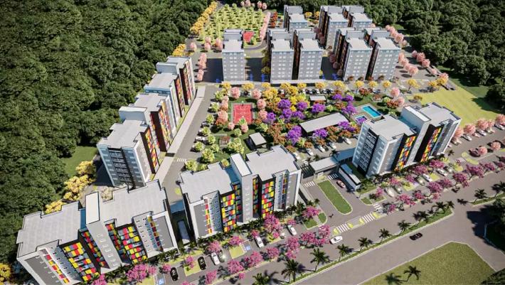 Ilustração de como devem ficar os prédios no Cabreúva.