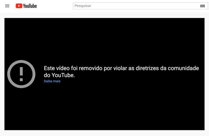 Vídeo do canal do presidente Jair Bolsonaro sobre cloroquina foi retirado do YouTube em 26 de maio de 2021.  Foto: Reprodução