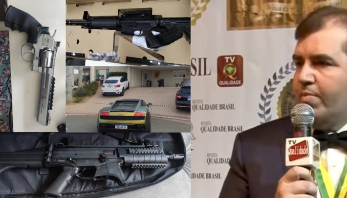 Este é Fabrícia, num vídeo amplamente compartilhado na internet. Ao lado estão as armas e veículos apreendidos pela polícia.