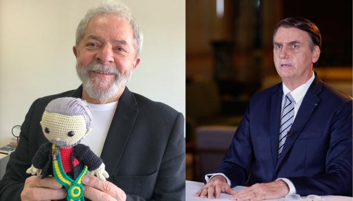 Lula (a esquerda) Bolsonaro (a direita).