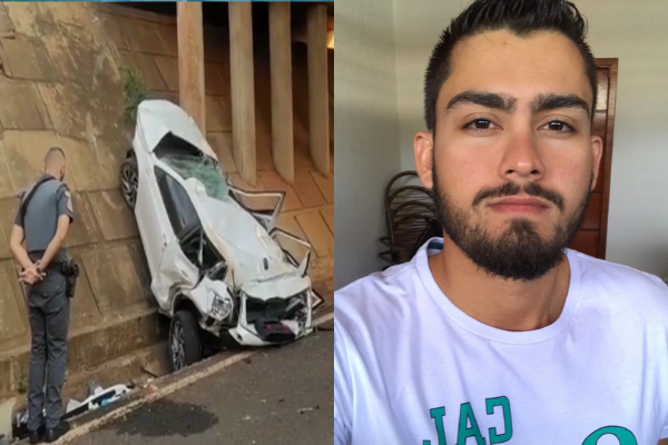 Este é Janderson Rodrigues da Silva Filho (D). O carro destruído a esquerda. Foto: Manoel Messias, do Portal Mil Notícias.