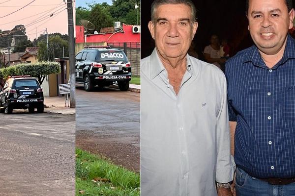 Veículos da polícia estiveram nesta manhã nas residências dos ex-agentes públicos de Maracaju.