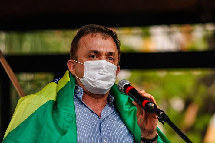 Este é Vander Loubet (PT-MS), durante manifestação contra Jair Bolsonaro, em 7 de setembro. Foto: Tero Queiroz