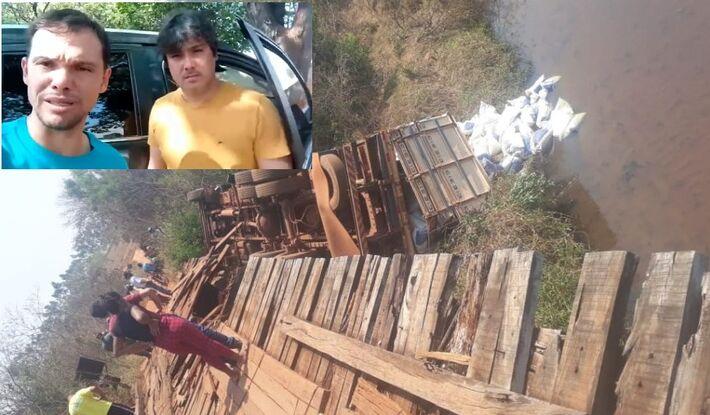 O caminhão (D) caiu da ponte por volta das 10h30 deste domingo (19.set). O prefeito (E), gravou o vídeo pouco depois.
