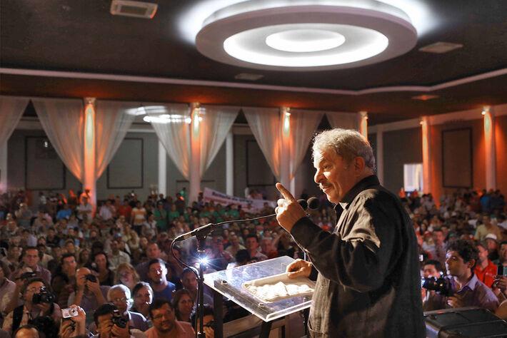 Lula em conversa com militantes no Buffet Ondara<br />Autor: Ricardo Stuckert/Instituto Lula