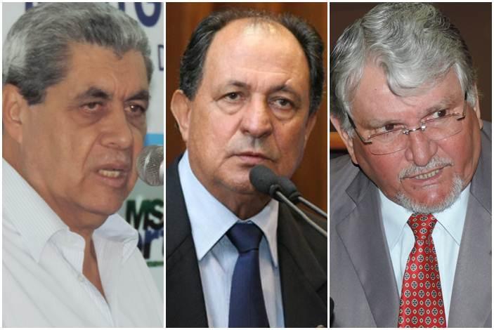 Governador André Puccinelli, deputado estadual Zé Teixeira (DEM) e vereador e ex-governador Zeca do PT<br />Foto: Arquivo