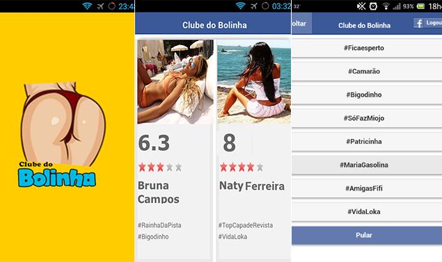 Imagens do aplicativo Clube do Bolinha, que permite dar nota a mulheres da rede de contatos no Facebook