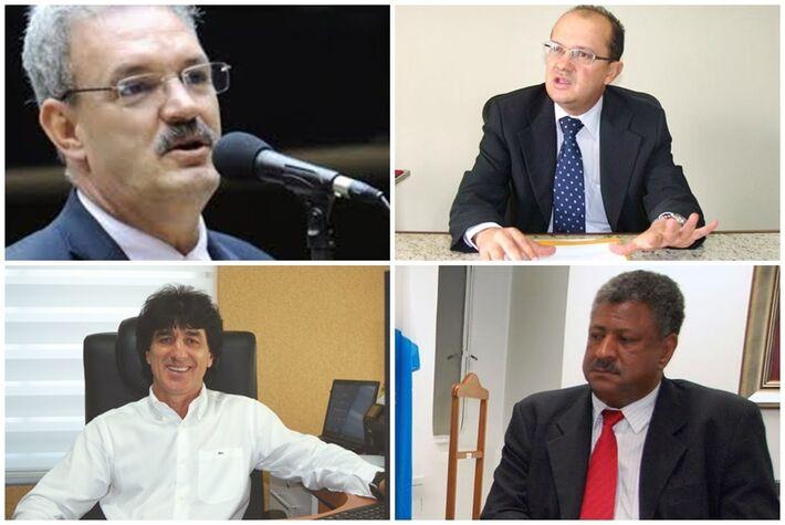 De cima para baixo e da esquerda para direita: Geraldo Rezende (PMDB), José Carlos Barbosa, presidente da Sanesul, Adão Parizotto, empresário de Dourados e João Grandão (PT)
