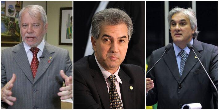 Antônio Carlos Biffi (PT), Reinaldo Azambuja (PSDB) e Delcídio do Amaral (PT)<br />Foto: Arquivo