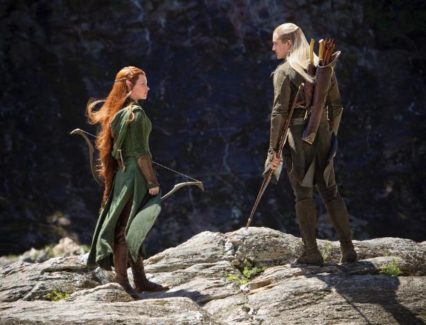 """Tauriel (Evangeline Lilly) e Legolas (Orlando Bloom) em """"O Hobbit - A Desolação de Smaug""""<br />Foto: Divulgação"""
