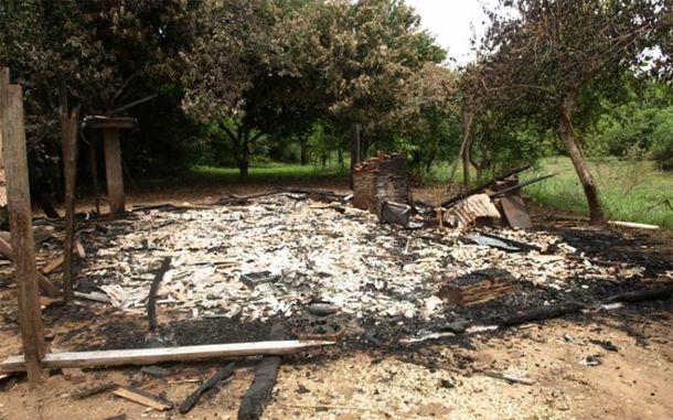 Casa depois do incêndio<br />Foto: Fátima News