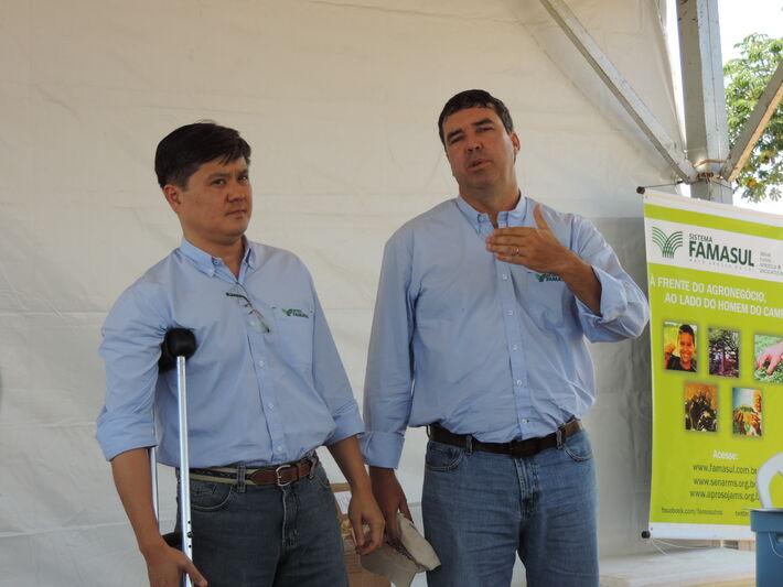 Presidente da Aprosoja, Maurício Saito e presidente da Famasul, Eduardo Riedel<br />Foto: Tayná Biazus