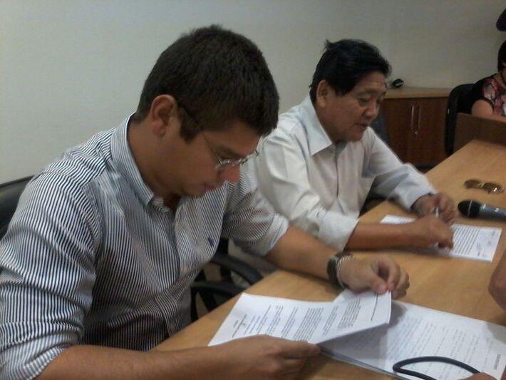 Vereadores Otávio Trad (PT do B) e Edson Shimabukuro (PTB)<br />Foto: Diana Christie