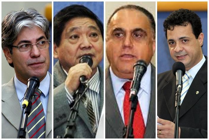 Vereadores Alex do PT, Edson Shimabukuro (PTB), Jamal Salém (PR) e Cazuza (PP)<br />Foto: Reprodução