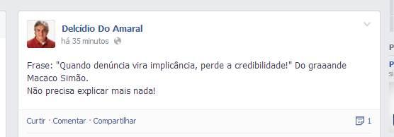 Postagem feita pelo senador petista, Delcídio do Amaral. Foto: Arquivo
